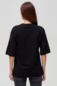Оптом Женские футболки с надписями черного цвета 76029Ch, фото 5