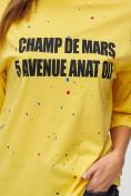 Оптом Женские футболки с надписями желтого цвета 76029J, фото 3