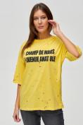 Оптом Женские футболки с надписями желтого цвета 76029J, фото 4