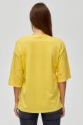 Оптом Женские футболки с надписями желтого цвета 76029J, фото 5