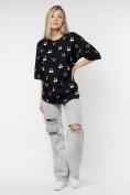 Оптом Женские футболки с принтом черного цвета 76032Ch в Екатеринбурге, фото 6