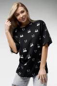 Оптом Женские футболки с принтом черного цвета 76032Ch в Екатеринбурге, фото 3