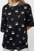 Оптом Женские футболки с принтом черного цвета 76032Ch в Екатеринбурге