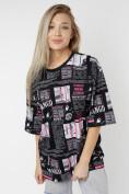 Оптом Женские футболки с принтом черного цвета 76091Ch в Екатеринбурге, фото 3