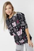 Оптом Женские футболки с принтом черного цвета 76091Ch в Екатеринбурге, фото 2