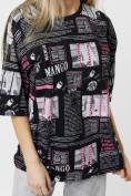 Оптом Женские футболки с принтом черного цвета 76091Ch в Екатеринбурге