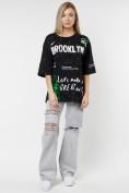 Оптом Женские футболки с принтом черного цвета 76102Ch в Екатеринбурге, фото 4