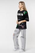 Оптом Женские футболки с принтом черного цвета 76102Ch в Екатеринбурге, фото 6