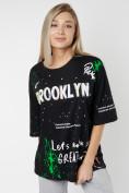 Оптом Женские футболки с принтом черного цвета 76102Ch в Екатеринбурге, фото 3