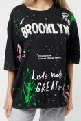 Оптом Женские футболки с принтом черного цвета 76102Ch в Екатеринбурге, фото 2