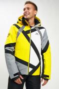 Оптом Горнолыжная куртка мужская желтого цвета 77015J в Екатеринбурге, фото 2