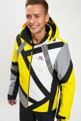 Оптом Горнолыжная куртка мужская желтого цвета 77015J в Екатеринбурге, фото 3