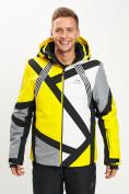 Оптом Горнолыжная куртка мужская желтого цвета 77015J в Екатеринбурге