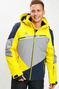 Оптом Горнолыжная куртка мужская желтого цвета 77016J в Екатеринбурге
