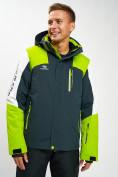 Оптом Горнолыжная куртка мужская зеленого цвета 77018Z в Екатеринбурге