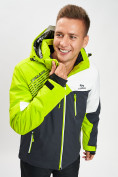 Оптом Горнолыжная куртка мужская зеленого цвета 77019Z в Екатеринбурге