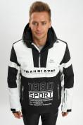 Оптом Горнолыжная куртка анорак мужская белого цвета 77024Bl в Екатеринбурге