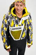Оптом Горнолыжная куртка анорак мужская желтого цвета 77027J в Екатеринбурге, фото 3