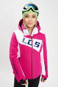 Оптом Горнолыжная куртка женская розового цвета 77030R в Екатеринбурге