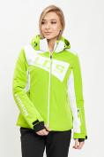 Оптом Горнолыжная куртка женская зеленого цвета 77030Z в Екатеринбурге