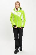 Оптом Горнолыжная куртка женская зеленого цвета 77030Z в Екатеринбурге, фото 2