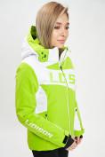 Оптом Горнолыжная куртка женская зеленого цвета 77030Z в Екатеринбурге, фото 4