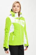 Оптом Горнолыжная куртка женская зеленого цвета 77030Z в Екатеринбурге, фото 5