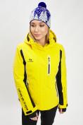 Оптом Горнолыжная куртка женская желтого цвета 77034J в Екатеринбурге