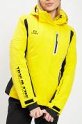 Оптом Горнолыжная куртка женская желтого цвета 77034J в Екатеринбурге, фото 2
