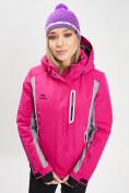 Оптом Горнолыжная куртка женская розового цвета 77034R в Екатеринбурге, фото 5