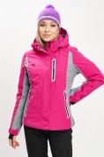 Оптом Горнолыжная куртка женская розового цвета 77034R в Екатеринбурге