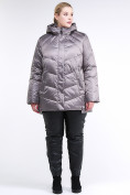 Оптом Куртка зимняя женская стеганная коричневого цвета 85-923_48K в Екатеринбурге