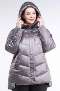 Оптом Куртка зимняя женская стеганная коричневого цвета 85-923_48K в Екатеринбурге, фото 5