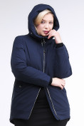 Оптом Куртка зимняя женская классическая темно-синего цвета 86-801_16TS в Казани, фото 5