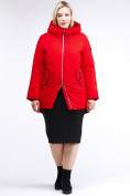Оптом Куртка зимняя женская классическая красного цвета 86-801_4Kr в Екатеринбурге
