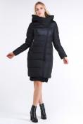 Оптом Куртка зимняя женская молодежная стеганная черного цвета 870_01Ch в Казани, фото 2