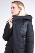 Оптом Куртка зимняя женская молодежная стеганная черного цвета 870_01Ch в Казани, фото 8