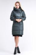 Оптом Куртка зимняя женская молодежная стеганная болотного цвета 870_06Bt в  Красноярске