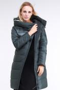 Оптом Куртка зимняя женская молодежная стеганная болотного цвета 870_06Bt в  Красноярске, фото 2