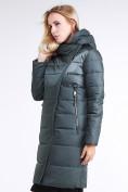 Оптом Куртка зимняя женская молодежная стеганная болотного цвета 870_06Bt в  Красноярске, фото 3