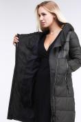 Оптом Куртка зимняя женская молодежная стеганная темно-серого цвета 870_13TC в Казани, фото 2
