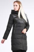Оптом Куртка зимняя женская молодежная стеганная темно-серого цвета 870_13TC в Казани, фото 4