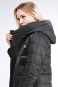 Оптом Куртка зимняя женская молодежная стеганная темно-серого цвета 870_13TC в Казани, фото 8