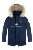 Оптом Куртка парка зимняя подростковая для мальчика темно-синего цвета 8831TS в Екатеринбурге