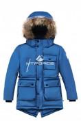 Оптом Куртка парка зимняя подростковая для мальчика синего цвета 8833S в Екатеринбурге, фото 3