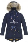 Оптом Куртка парка зимняя подростковая для мальчика темно-синего цвета 8836TS в Екатеринбурге