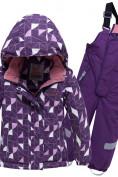 Оптом Горнолыжный костюм детский фиолетового цвета 8912F в  Красноярске