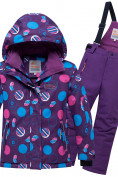 Оптом Горнолыжный костюм подростковый для девочки фиолетового цвета 8916F в Екатеринбурге