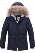 Оптом Куртка парка зимняя подростковая для мальчика темно-синего цвета 8931TS