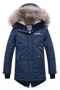 Оптом Куртка парка зимняя подростковая для девочки темно-синего цвета 8934TS в Екатеринбурге